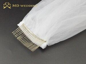Image 5 - Màu trắng Ngà Dài 5M Ren Thêu Táo Đầm Dự Tiệc Phối Ren Voan Dài Cô Dâu Vân Cưới Phụ Kiện Với Lược EE02
