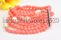 Z8465 6Strands 4mm Pink round Coral White Baroque pearl Bracelet Magnet 8inch