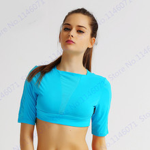 251622f4457 Rose Red Running Shirts Cropped Top Pink Peach Fitness Crop Top Candy Color  Sports Shirt Half