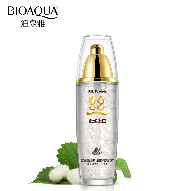BIOAQUA Brand Face Skin Care Silk Protein Hyaluronic Acid Liquid Anti Wrinkle Serum Whitening Moisturizing Anti Aging Toner цена 2017
