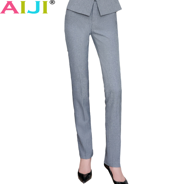 fc6272cf US $28.16 |Full length Belt Loop Plus Size Formal Pants for Women Office  Ladies Work Wear Straight Trousers Female Clothing Business Design-in Pants  & ...
