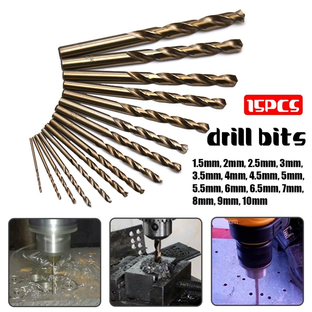 15pcs Cobalt Drill Bits For Metal Wood Working M35 HSS Co Steel Straight Shank 1.5-10mm Twist Drill Bit Power Tools hss co high speed steel m35 cobalt 4 5 6 8 10mm drill bit tool set a04 17