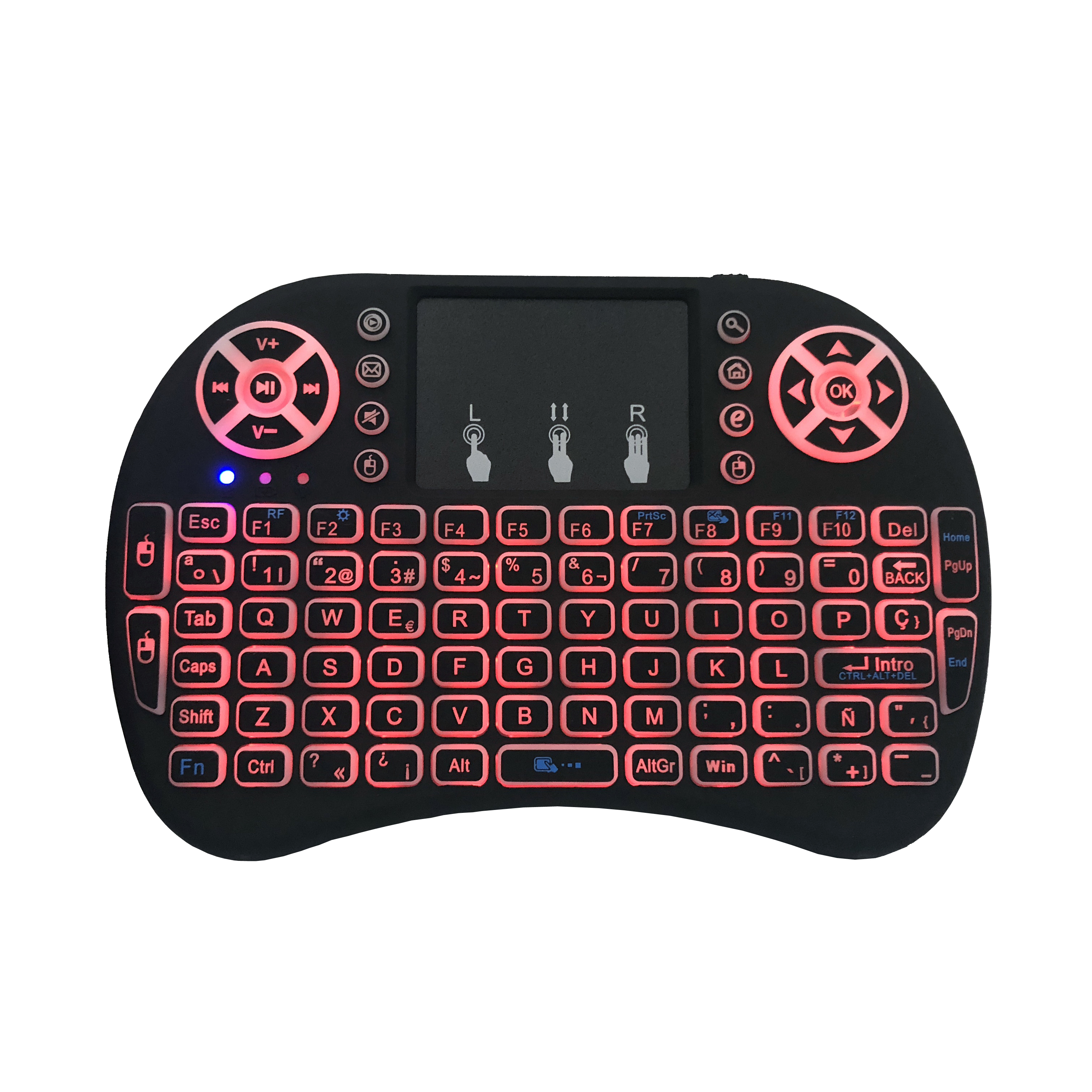 Image 2 - Spanish i8 mini keyboard 3 color backlit i8+ lithium battery backlight Air Mouse Remote Control Touchpad Handheld TV BOX Laptop-in Keyboards from Computer & Office