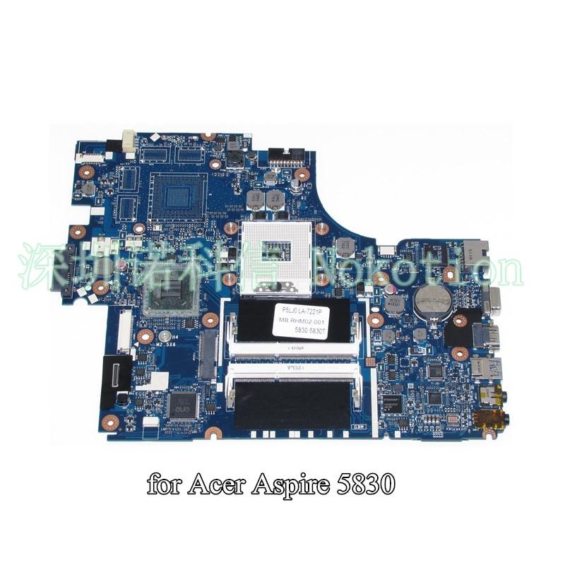 NOKOTION MBRHM02001 MB.RHM02.001 P5LJ0 LA-7221P for acer aspire 5830 5830T Laptop motherboard intel HD graphics nokotion laptop motherboard for acer aspire v3 571 nv56r nby1111001 nb y1111 001 q5wvh la 7912p mother board intel ddr3