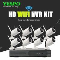 YiiSPO 8CH Wireless NVR CCTV System 720P IP Camera WIFI Weatherproof IR Night Vison Home Security