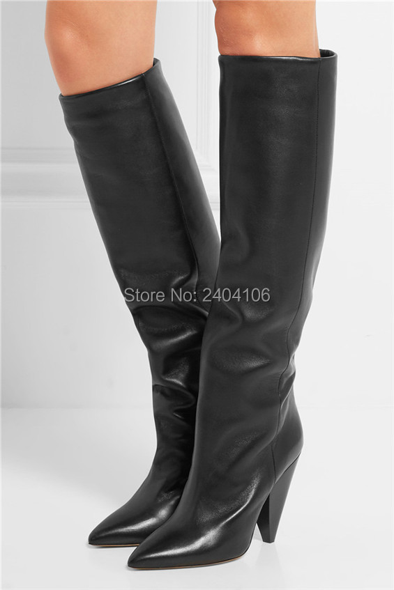 где купить  Black Red Green Plain Leather Knee High Boots Woman Spike Heels Autumn Shoes Fashion Motorcycle Booties Pointy Toe Slip On Botas  по лучшей цене