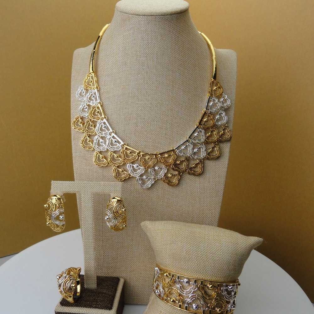 Yuminglai Dubai 24K Gold Jewlery Exquisite Jewelry Sets Necklace FHK5387