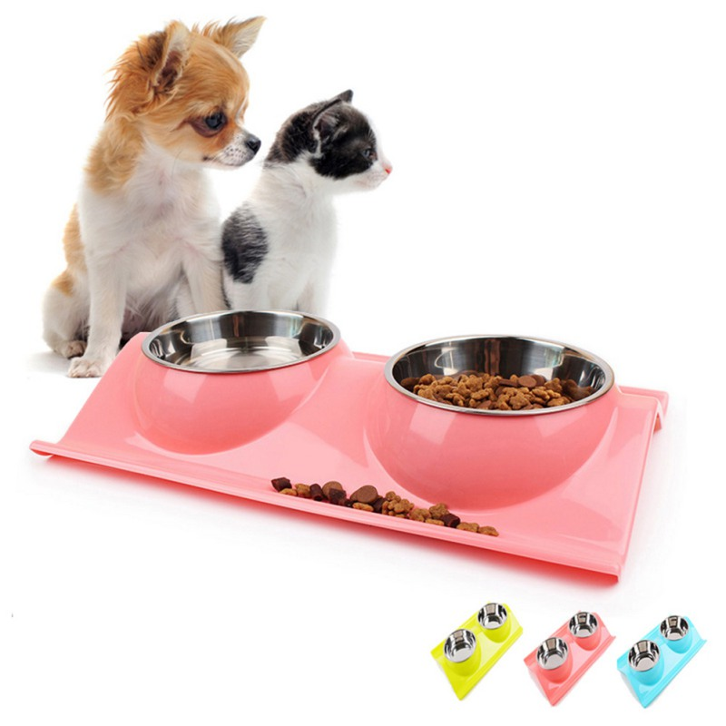 Cute Pet Feeder Dog Wave Shape Anti Slip Leak-proof Detachable Double Bowls Puppy Stainless Steel Resin Food Water Dish Supplies