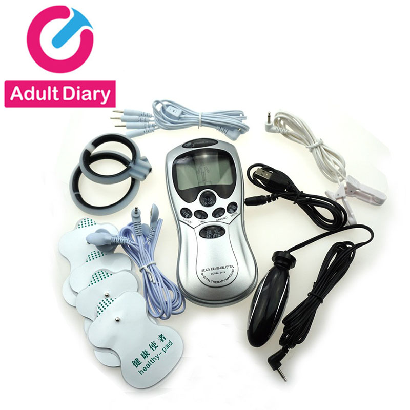 Electric Shock Kit, Penis Ring Massage Pad Nipple Clamps Anal Plug Electro Sex Medical Themed Toys, Electro Shock Sex Toys
