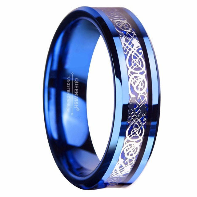 Queenwish 6mm Blue Tungsten Ring Sliver Color Celtic Dragon Wedding Bands Couples Rings Set Size 5