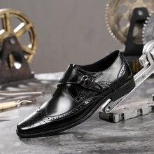 Горячая 2018 Демисезонный Для мужчин из натуральной кожи Бизнес повседневная обувь под платье британской моды Для мужчин большой Размеры пряжкой обувь с острым носком