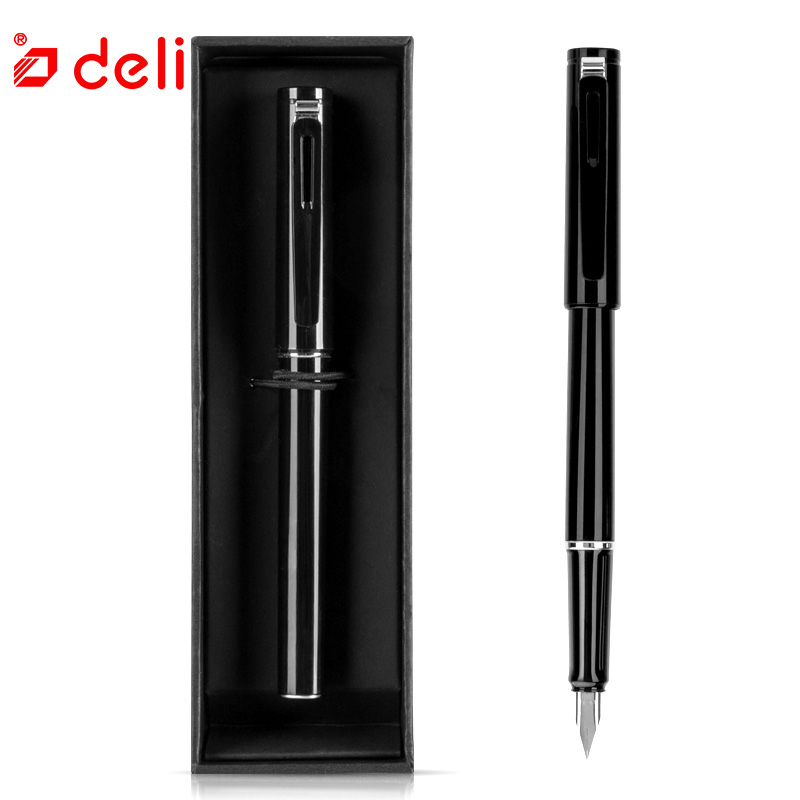 Deli Metal Fountain Pen Without Pencil Box luxury school Office Stationery luxury Writing pens gift Extra Fine Nib fountain pens dikawen 891 gray gold dragon clip 0 7mm nib office stationery metal roller ball pen pencil box cufflinks for mens luxury