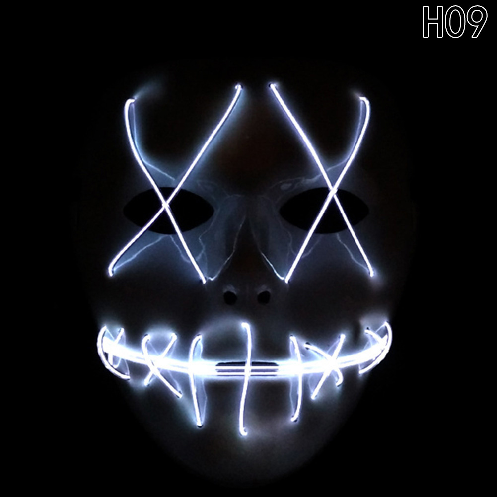 HTB1OKM3bk.HL1JjSZFuq6x8dXXaI - 1 Piece Halloween ghost Slit mouth light up glowing LED Mask Costume PTC 259