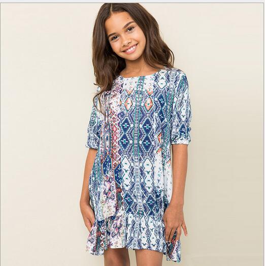 Bohemian Style Teenager Floral Ruffle Dresses Junior Fashion Cotton Dress 2016 Big font b Kids b