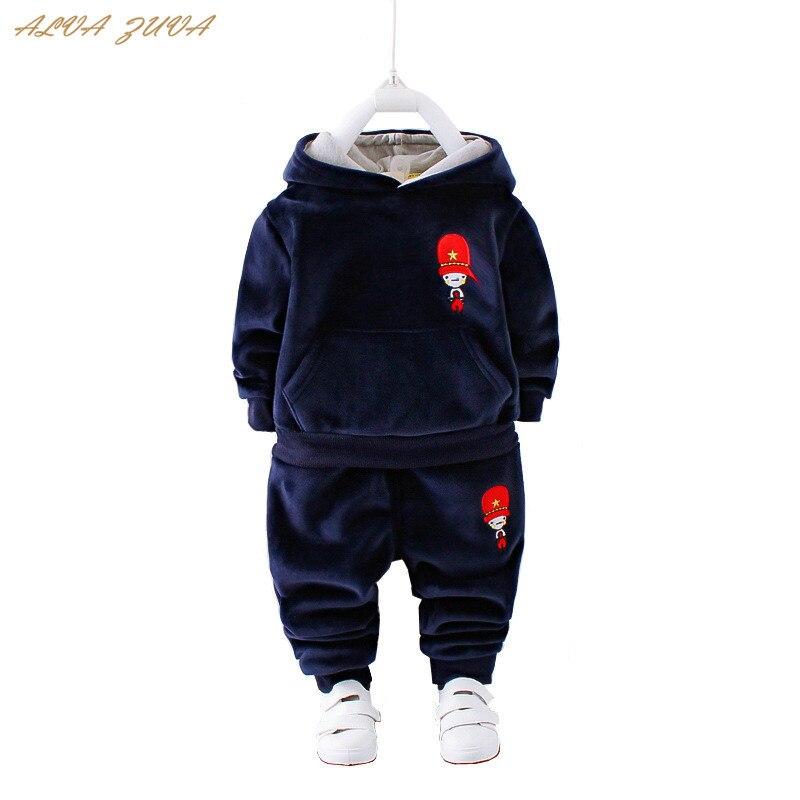 где купить ALVA ZUVA Autumn/Winter Children Clothes Baby Boys Girls Hoodies+Pants 2 Pcs/Suit Kids Fleece Thick Warm Clothing Set Cyy031 по лучшей цене
