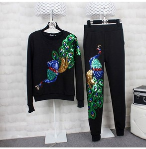 Sequined Peacock Embroidery Fabric Large Applique Patch Applique Clothes Sew On Patch(China)
