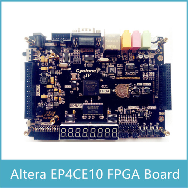 US $124 19 16% OFF|Altera EP4CE10 FPGA Development Board with 8 channels 12  bit ADC 2 channels DAC with Audio Input and Output Microphone Ethernet-in
