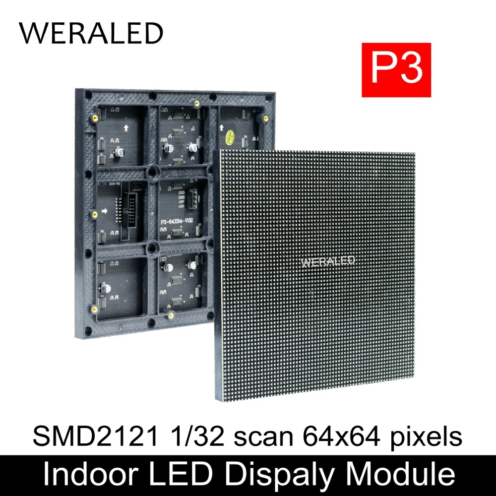 WERALED High Definition Indoor P3 Full Color LED Module 192x192mm,High Contrast Ratio SMD RGB 1/16 1/32 scan Indoor P3 LED Panel