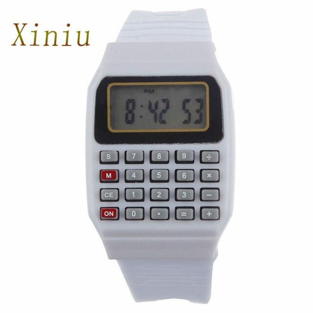 Clok Silicone Multi-Purpose Date Time Electronic Wrist Calculator Watch Children