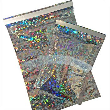 "Holographic bag foil poly mailer A4/C4 229x324mm, 9"" x 13"" holographic mailing bag"