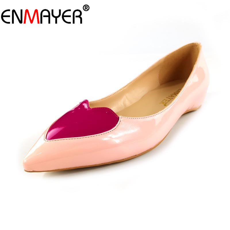 ENMAYER Women Flats Heart-Shaped Shallow Pointed Toe Low Heels Sweet Plus Size 34-46 Summer Shoes for Women Slip-On Dress Office krazing pot empty after shallow shoes woman lace work flats pointed toe slip on sheep suede causal summer outside slippers l16