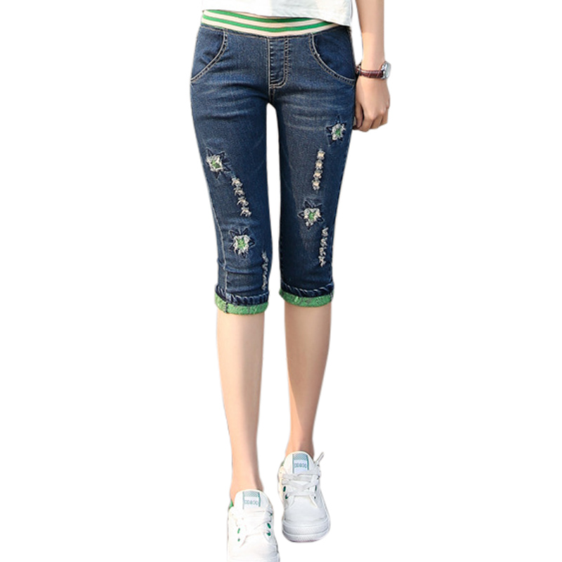 Ripped Jeans Female Women Denim Pants Capri Bottoms Capris Elastic Waist Embroidery Cuffs Ripped Hole Trousers Cropped 3/4 цена