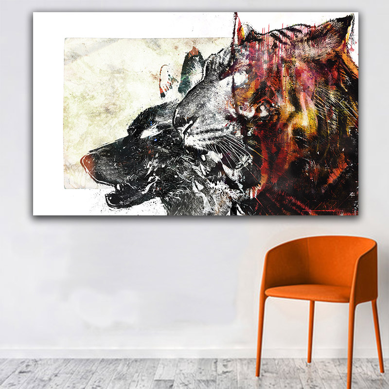 GOODECOR Wall Art Canvas Wall Print Posters and Prints Abstract Animal Canvas Painting for Living Room