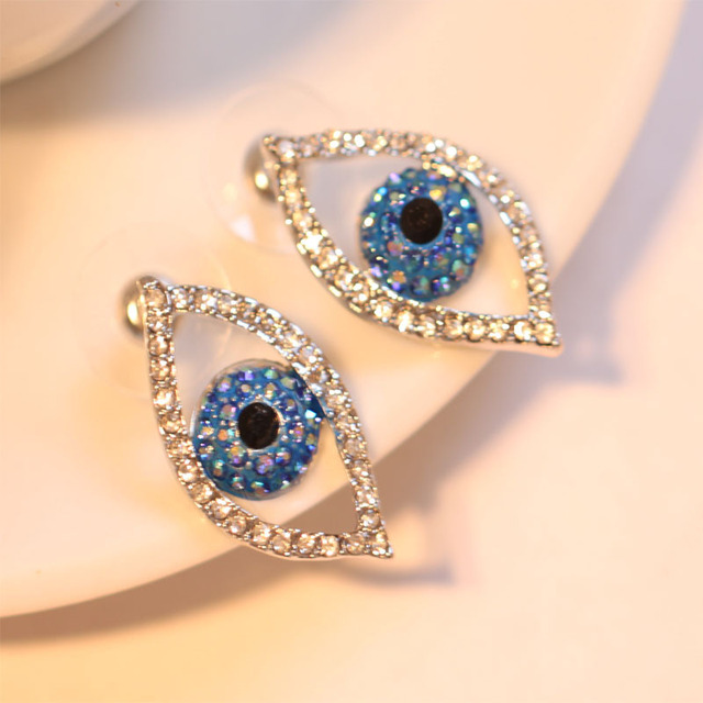efd90ae46 British popular fashion brand butler & wilson blue crystal paved turkey  evil eye nice stud earrings and rings jewelry set