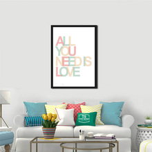 All You Need Is Love Romantic Quote Canvas Poster Print Nursery Bedroom Wall Decor Printing Picture Colorful Letter Painting