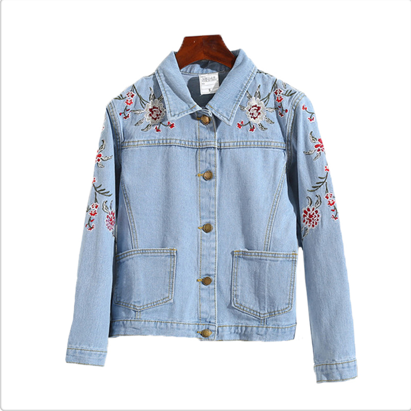 2018 Embroidery Denim   Jackets   Women Vintage Embroidered Jeans Coat for Women 2018 Spring Autumn   Basic     Jackets   JH167
