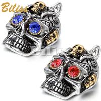 2015 New Heavy Skull Pendant Necklace Blue Red Rhinestone Mens Stainless Steel Necklace Cheap Men Jewelry