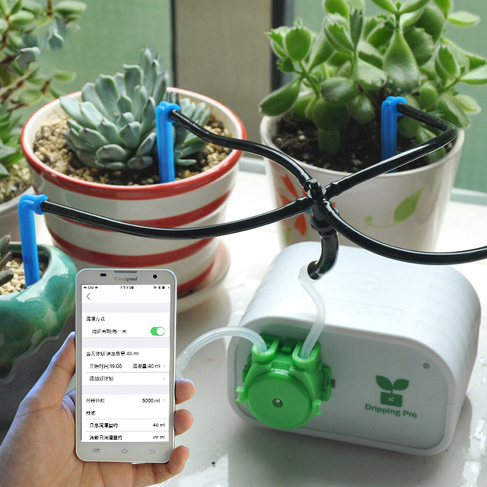 Mobile Phone Control Lntelligent Garden Automatic Watering Device Succulents Plant Drip Irrigation Tool Water Pump Timer SystemMobile Phone Control Lntelligent Garden Automatic Watering Device Succulents Plant Drip Irrigation Tool Water Pump Timer System