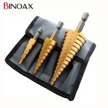 Binoax 3 шт. метрическая спираль флейта шаг hss стали 4241 конус titanium с покрытием Сверла Набор Инструментов Отверстие Cutter 4-12/20/32 мм + мешок