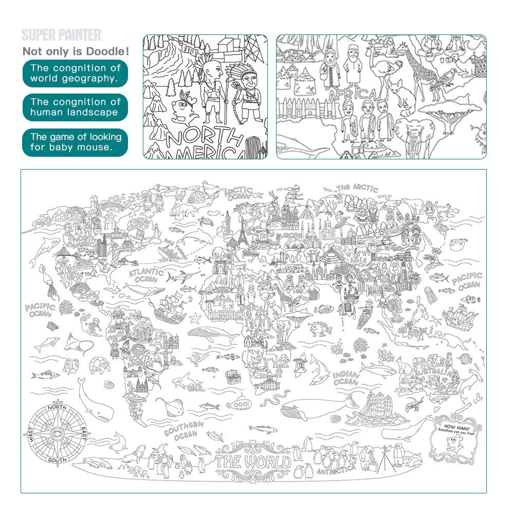 big giant wall size coloring poster 45 3 x31 5 animal the world