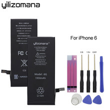 Original YILIZOMANA Phone Battery High Capacity 1950mAh For Apple iPhone 6 6G Replacement Lithium Polymer Batteries + Free Tools