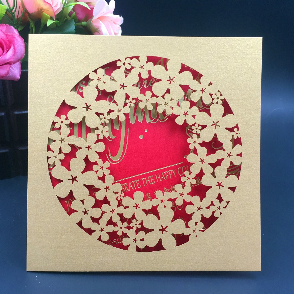 50Pcs Wedding Decoration Laser Cut Wedding Invitations Card Chic ...