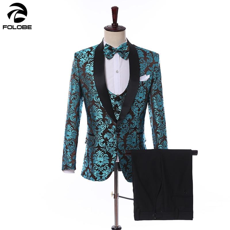 FOLOBE 2019 Mannelijke Pak Groen Jacquard Party Wedding Festival Stijlvolle Mannen Suits 3 STUKS Voor Mannen Podium Slanke Pak Blazer + Vest + Broek-in Pakken van Mannenkleding op  Groep 1