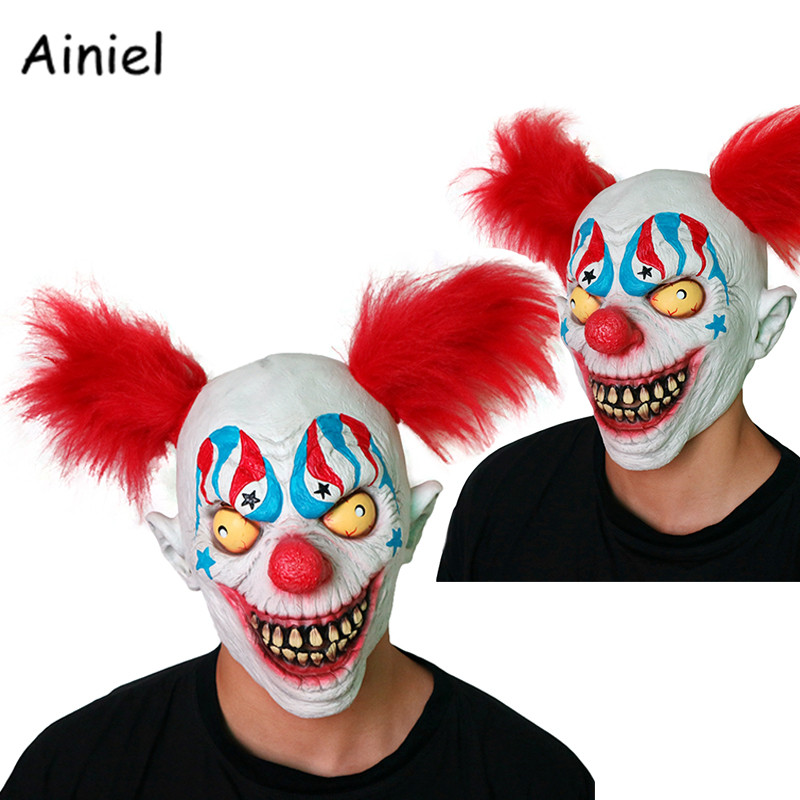 The Joker Evil Scary Mask Cosplay Costume Red Wig Halloween Clown Terror Latex Mask Carnival Cosplay Men Women Adult Funny Mask
