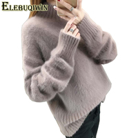 Autumn Winter New Women S Sweater Fashion High Collar Loose Knitted Sweaters Solid Color Pullover Thickening