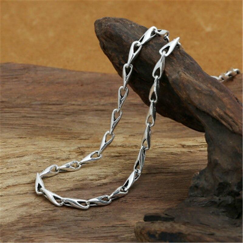 5mm 100% pur 925 argent Sterling Triangle bambou chaîne colliers pour hommes femmes en argent Sterling collier accessoires 18-32 pouces