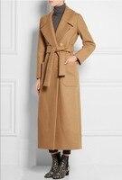 2018 UK Women Plus size Autumn Winter Cassic Simple Wool Maxi Long Coat Female Robe Outerwear manteau femme