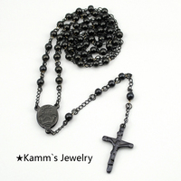 Rosary Beads Stainless Steel Chain Black Pendant Necklace Cross Jesus Accessories Wholesale True Religious Women Catholic