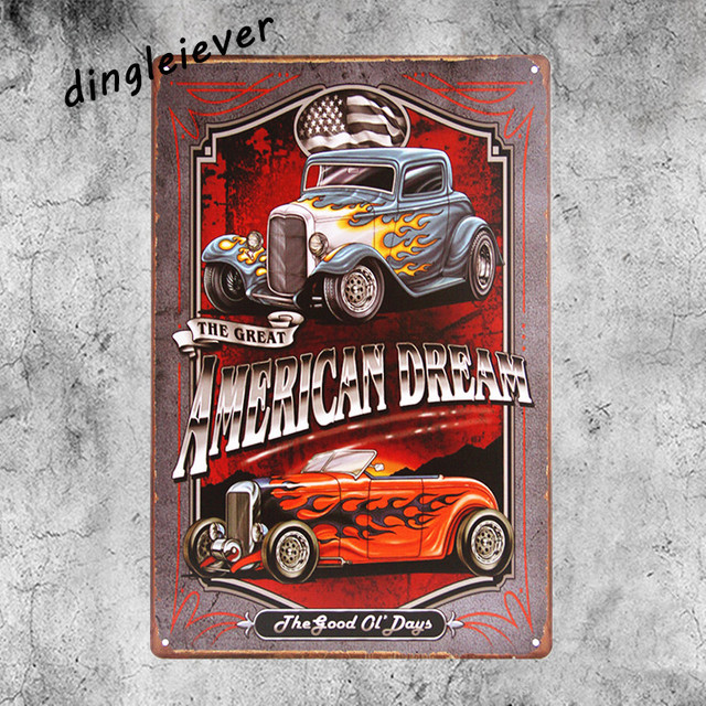 American Dream Car Vintage Metal Sign Home Decor Hot Rod Posters Antique Tray Garage Wall Art