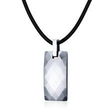 Vnox Healthy Hematite Necklace Men Jewelry Rock Punk Tungsten Carbide Necklaces & Pendants