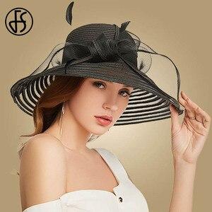 Image 5 - FS 2020 Stroh Breiter Krempe Hut Für Frauen Bowknot Weiß Schwarz Floppy Faltbare Strand Hüte Weibliche Damen Frühling Sommer Sonne visier Kappen