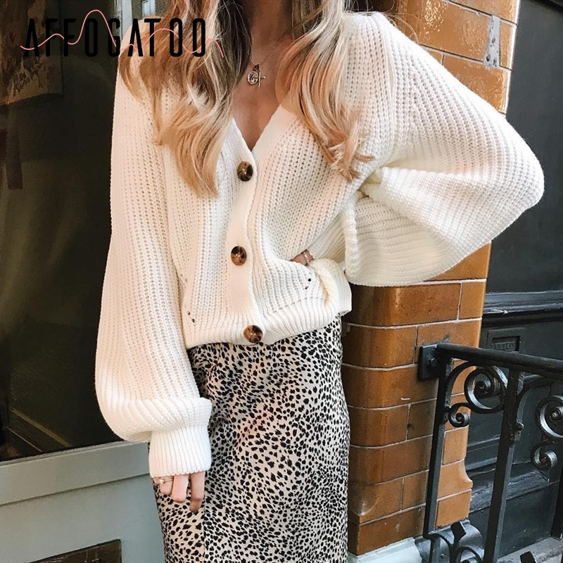 Affogatoo Sexy V-neck Knitted White Sweater Cardigan Women Casual Buttons Bat Sleeve Cardigan Elegant Autumn Ladies Sweaters Top
