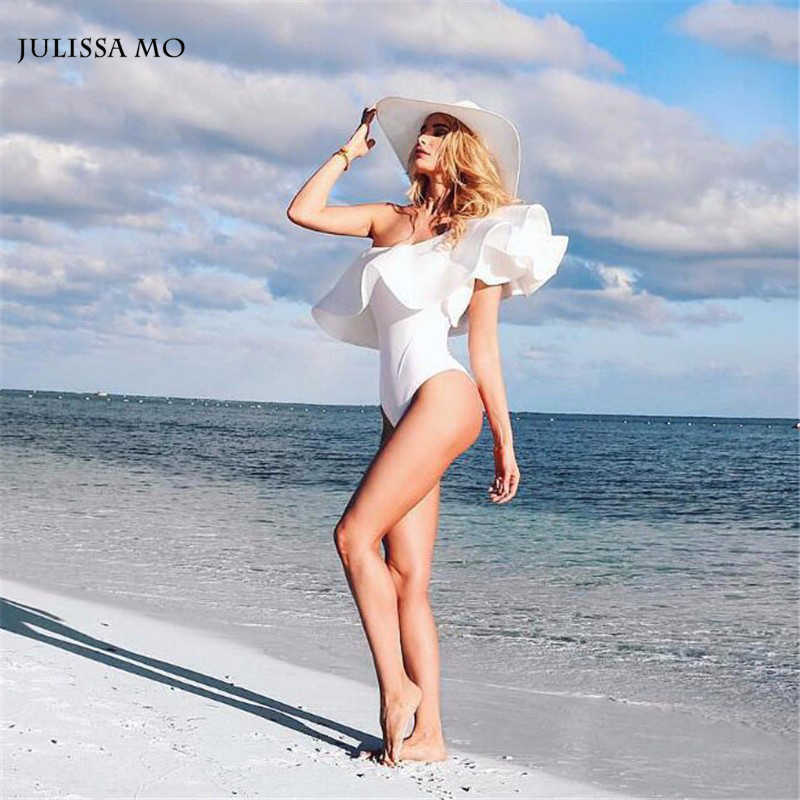 Sibybo 2019 Ruffle บอดี้สูทผู้หญิงสีขาวสีขาวเซ็กซี่ Sexy Playsuit Rompers ชุดสตรี Jumpsuit Bodycon Combinaison Femme