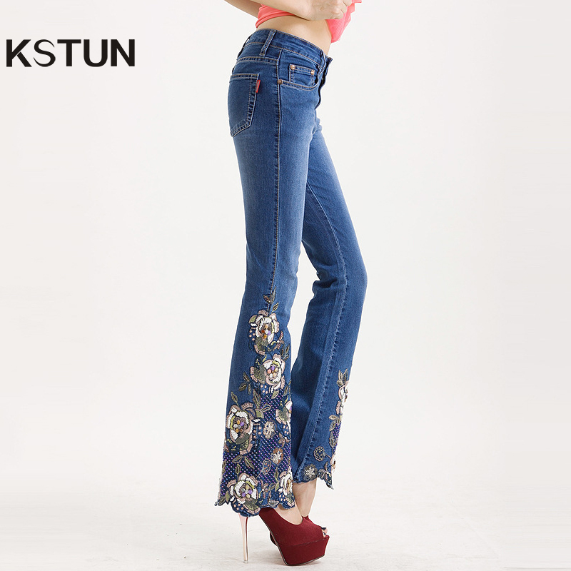 Famous Brand Womens Jeans with Embroidery Hand Beaded Flared Pants Denim Stretch Boot Cut Luxurious Elegant Female Trousers 36