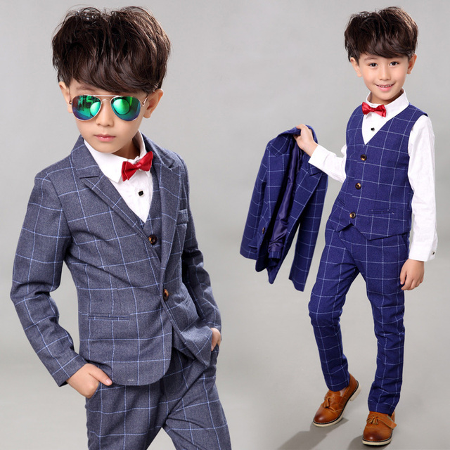 663e62ba81 Children s Set Plaid Three-piece Suit Cool Pant+Vest+Coat Performance Wear  Western Spring Autumn Formal Baby Boys Clothes Setkid