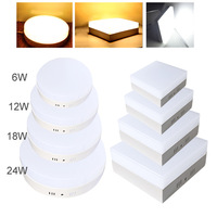 Free Shipping 6W 12W 18W 24W Round Square Led Panel Light Surface Mounted Downlight Lighting Led